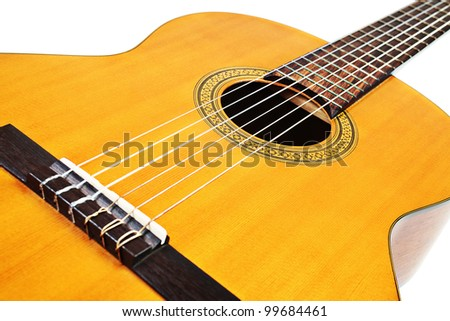 Guitar acoustic musical instrument details isolated on white