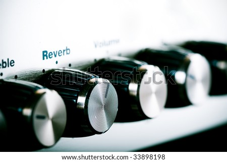 Guitar amplifier close up shot