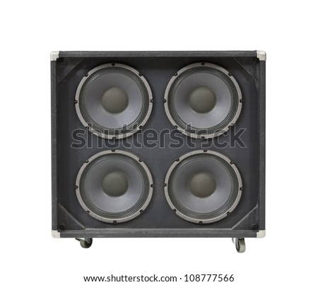 Guitar amplifier speaker box isolated with clipping path.