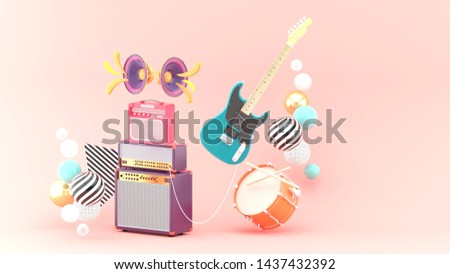 Guitar amplifiers, guitars and drums surrounded by colorful balls on a pink background.-3d rendering.