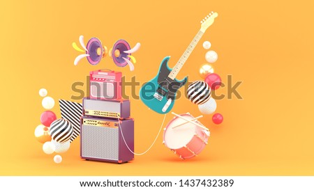 Guitar amplifiers, guitars and drums surrounded by colorful balls on an orange background.-3d rendering.