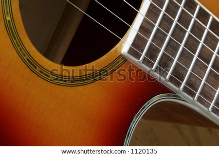 Guitar at angle. - stock photo