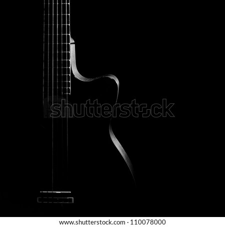 Guitar curves on a black background, - stock photo
