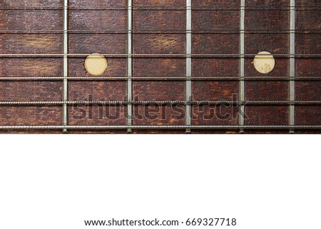 Guitar Fretboard Close Up On A White Background