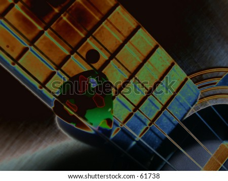Guitar Fretboard strings and Pick Solarized