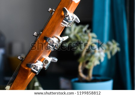 Guitar headstock close-up - Shutterstock ID 1199858812