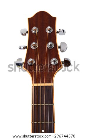 guitar headstock isolated on white - Shutterstock ID 296744570