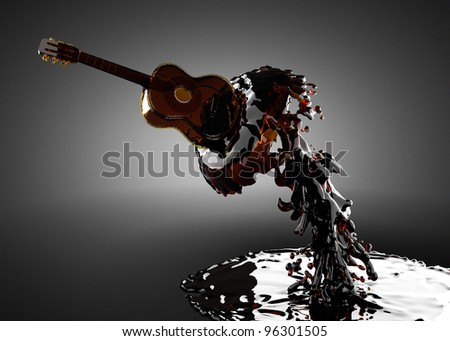 Guitar in water made in 3D