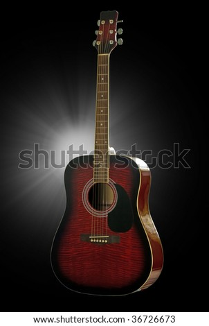Guitar. Isolated on black background with clipping path. - stock photo