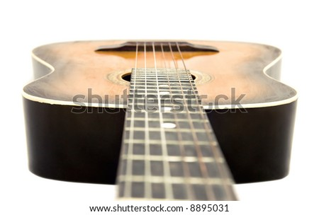 Guitar isolated on white. Camera a little higher strings.