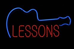 Guitar Lessons Electric Neon Blue and Red Sign Light