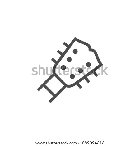 Guitar line icon isolated on white