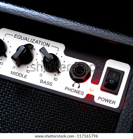 Guitar music amplifier close-up