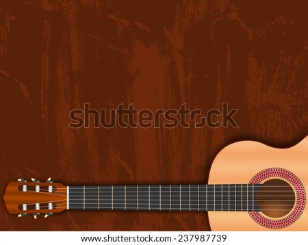 Guitar on grungy brown background. Music illustration suitable as invitation to musical performance or concert. With place for invitation text.
