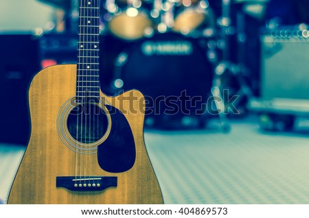 Guitar on music band background, musical concept