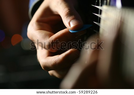 guitar play - stock photo