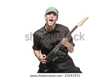 Guitar player isolated against white background