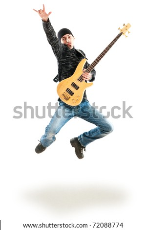 Guitar player jumping in the air