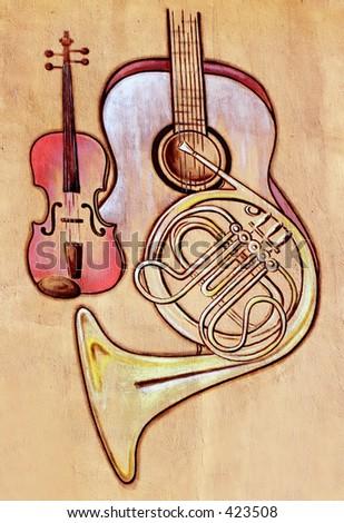 guitar violin trumpet