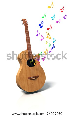 Guitar with painted colorful notes isolated on white