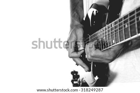 Guitarist on white background.