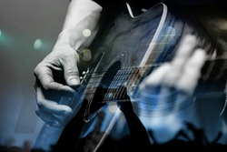 Guitarist with the audience in a double exposure.