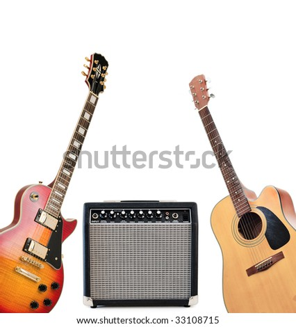 Guitars and amplifier isolated on a white