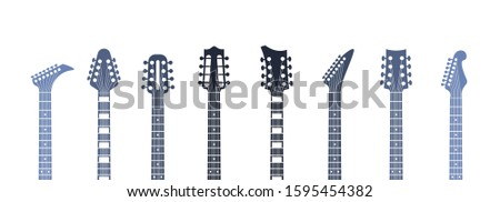 Guitars headstock. Flat acoustic and electric guitar necks and heads, minimal abstract template.  minimalism isolated illustration object set