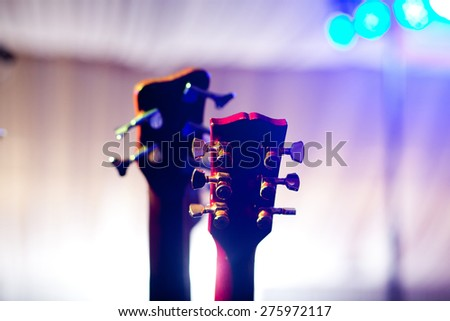Guitars on stage before concert