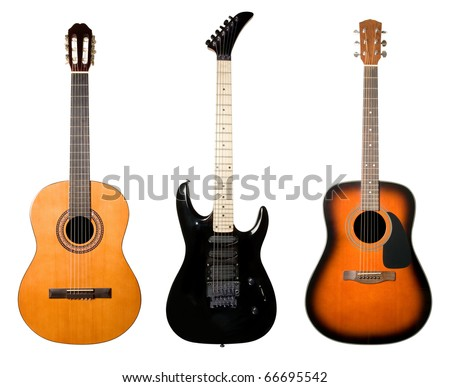 Guitars set isolated on white background.