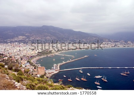 Gulf of Alanya with ships