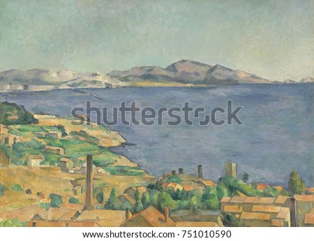Gulf of Marseilles Seen from LEstaque, by Paul Cezanne, 1885, French Post-Impressionist painting. The Red roofs of the fishing village of L\x90Estaque contrast with the blue sea. On a distance hill,