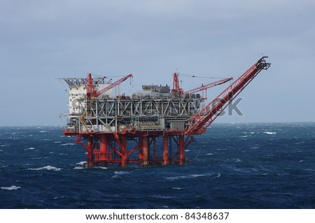 Gulf of Mexico oil drilling rig in stormy seas