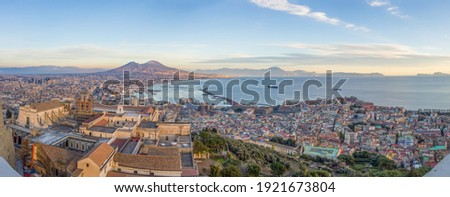 Gulf of Naples and Mount Vesuvius from the top of the Sant Elmo castle Stock fotó ©