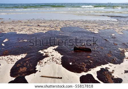 GULF SHORES, ALABAMA - JUNE 12: Gulf oil spill is shown on a beach on June 12, 2010 in Gulf Shores, Alabama.