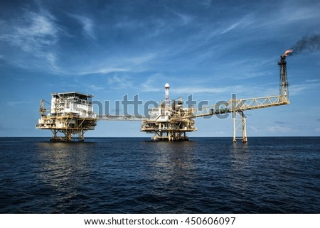 Gulf Thailand oil rig - May 22 th, 2015 : Offshore Industry oil and gas production petroleum pipeline.