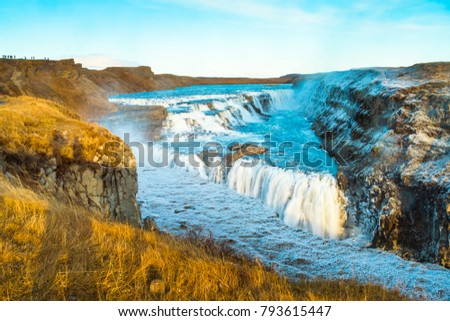 Gullfoss (Golden Fall), a waterfall where is part of the Golden Circle located in the canyon of Olfusa river in southwest Iceland #793615447