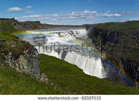 Gullfoss (Golden) falls and rainbow in Iceland