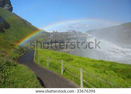 Gullfoss (Golden falls), famous Icelandic  waterfall - stock photo