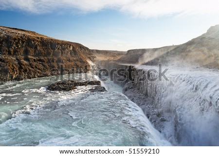 Gullfoss, Iceland. The Great Watefall.