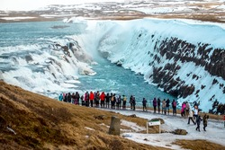 Gullfoss is bigger waterfall famous landmark in Iceland,ice waterfall and snow in winter background