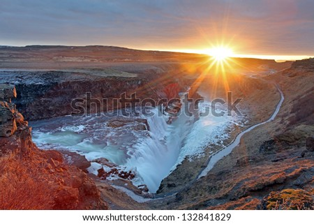 Gullfoss waterfall at sunset in Iceland during winter