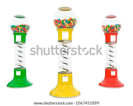 gumball machine with different colors isolated on a white background 3d rendering