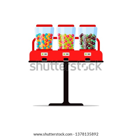Gumball or candies vending machine with colorful bubble gum, sweetness, sweetmeat isolated on white. Triple vendor machine front view automatic seller. Candy dispenser flat  illustration