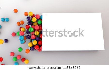 gumballs in a white box isolated on white background