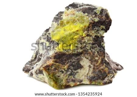 gummite (uranium ore) from Brasil isolated on white background