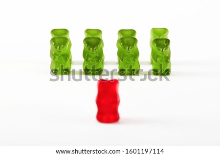 Gummy bear candies designed as a military troop. Commander leader inspecting the troops.