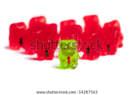 Gummy bear leading other fellow business bears