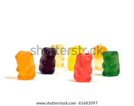 gummy bear on the white isolate background - stock photo