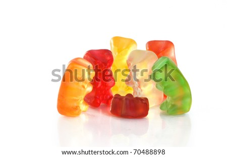 Gummy bear story series - grandparents and parents look at the new-born child